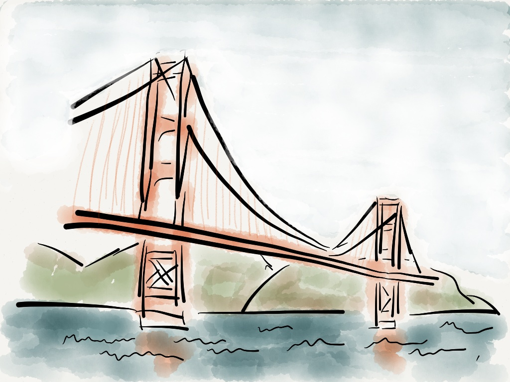 1024x768 Drawings Golden Gate Bridge