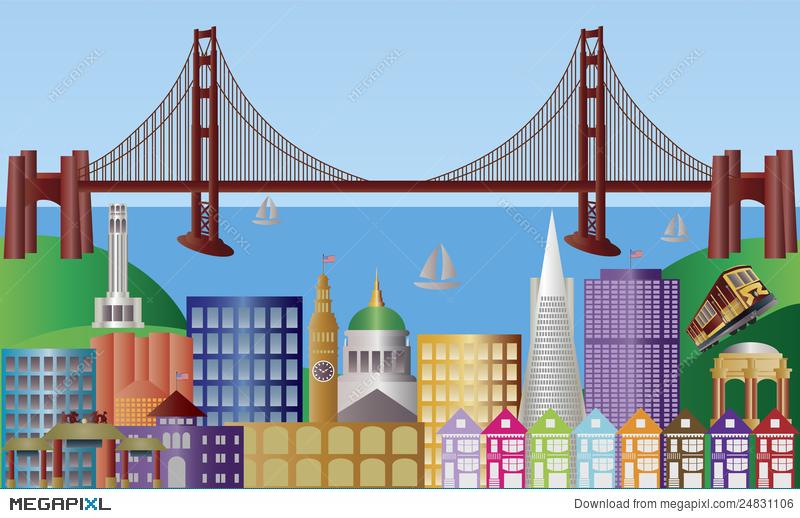 800x518 San Francisco City Skyline Panorama Illustration Illustration