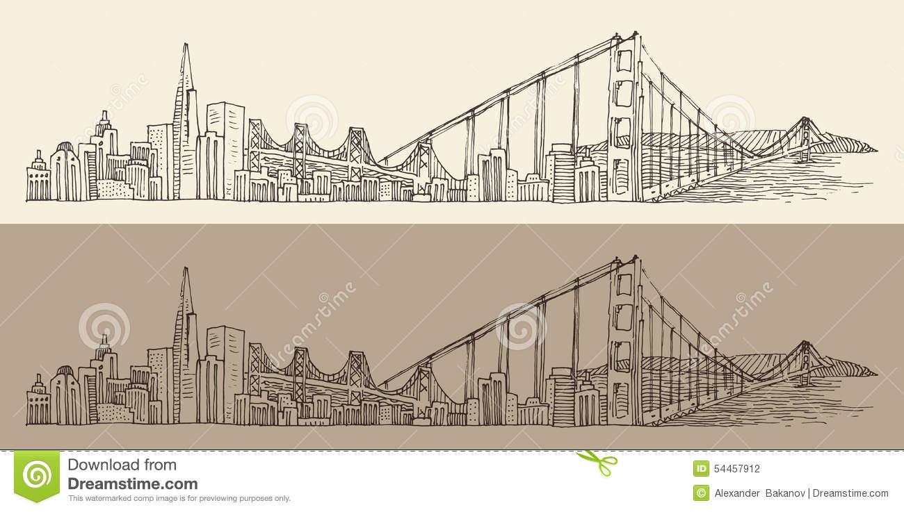 1300x737 San Francisco Skyline Drawing Golden Gate Bridge, San Francisco