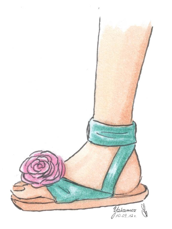 696x928 How To Draw Sandal By Judyta