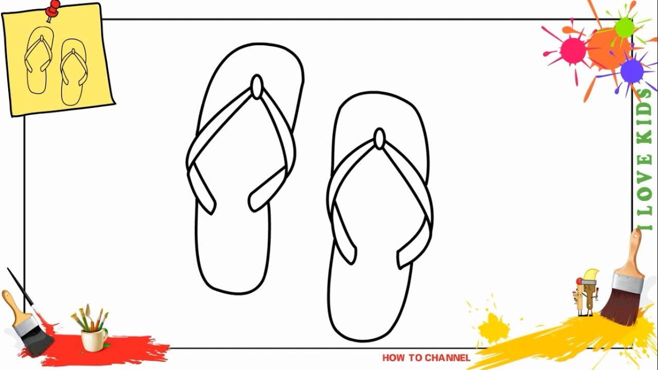1280x720 How To Draw A Sandal Easy Amp Slowly Step By Step For Kids