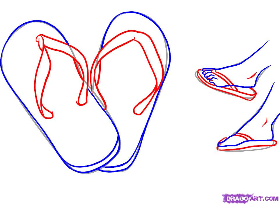 962x703 How To Draw Flip Flops Step 3 Beach Quotes
