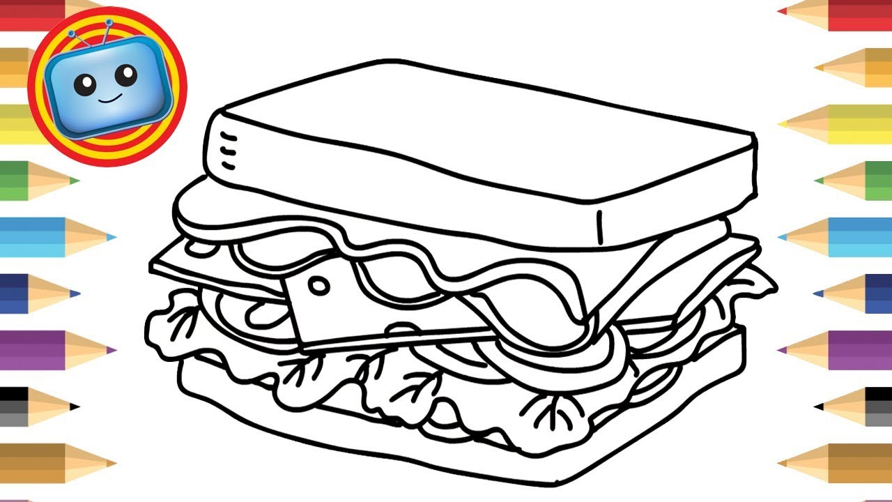 1280x720 How To Draw A Sandwich For Kids Colouring Book Simple Drawing