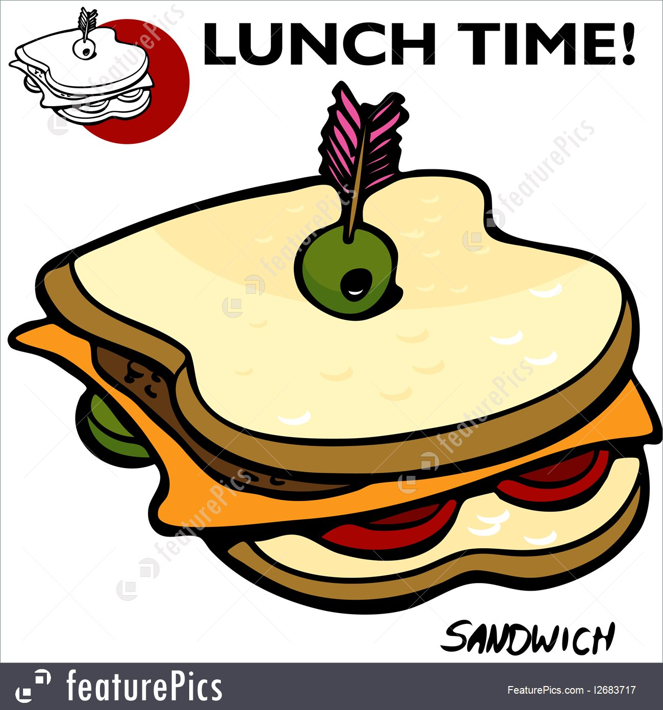 1300x1392 Illustration Of Sandwich Drawing