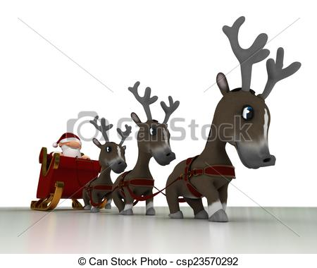 450x380 3d Render Of A Santa And Reindeer Stock Illustration