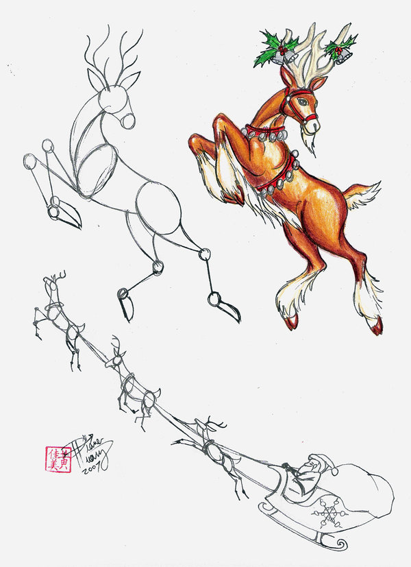 600x827 How To Draw A Reindeer By Diana Huang On Santa