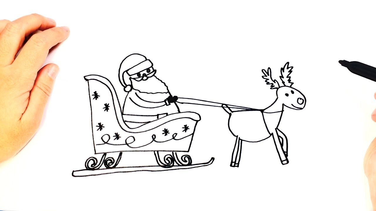 1280x720 How To Draw Santa Claus Sleigh Easy Draw Tutorial