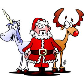 280x280 Santa His Reindeer And A Unicorn Fc T Shirt Design.