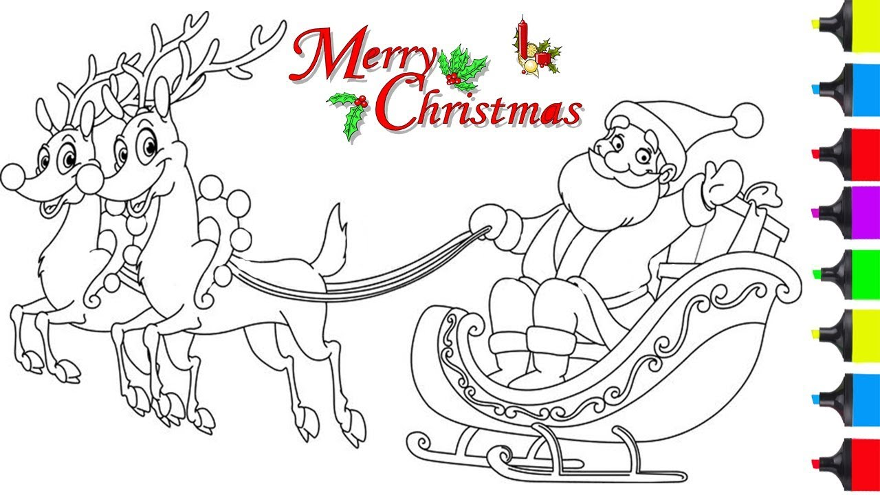 Santa And Sleigh Drawing at GetDrawings.com | Free for personal use ...