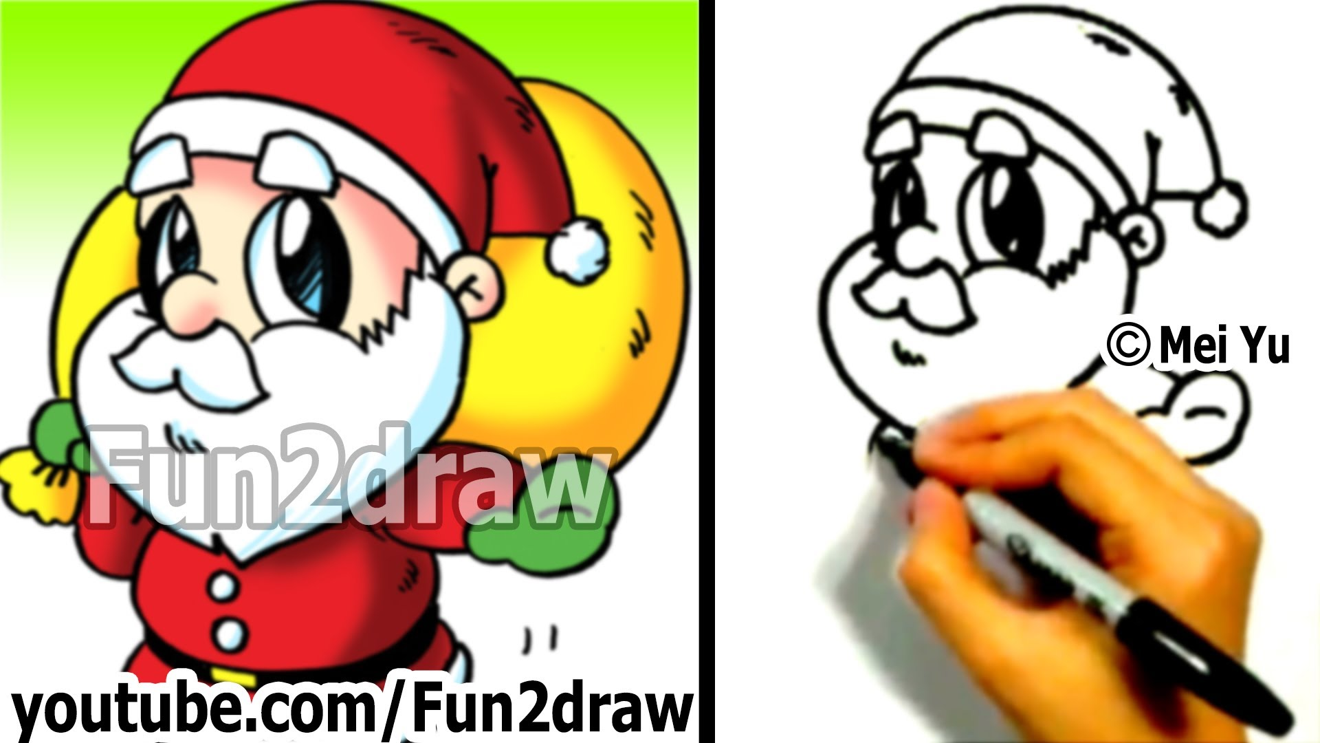 1920x1080 How To Draw Santa