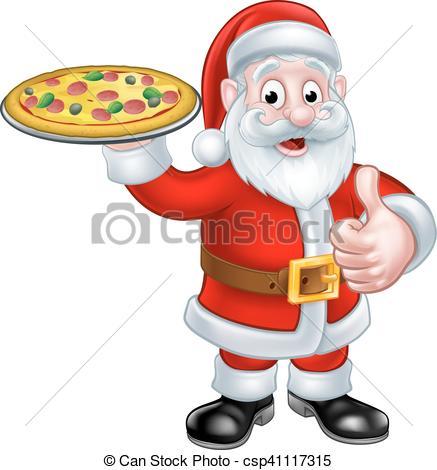 437x470 Cartoon Santa Claus Holding Pizza. Santa Christmas Chef Vector