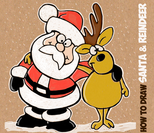 500x430 How To Draw Cartoon Santa Claus And Reindeer Easy Step By Step
