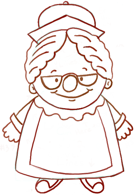 441x633 How To Draw Mrs. Clause With Easy Step By Step Drawing Tutorial