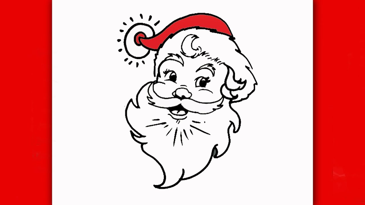 1280x720 How To Draw Santa Claus Face Step By Step For Kids Easy