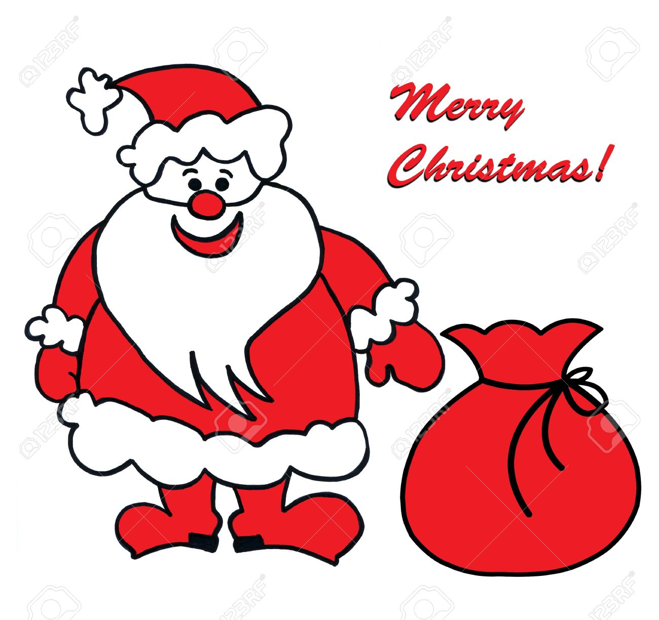 1300x1223 Child's Drawing Of Santa Claus Stock Photo, Picture And Royalty