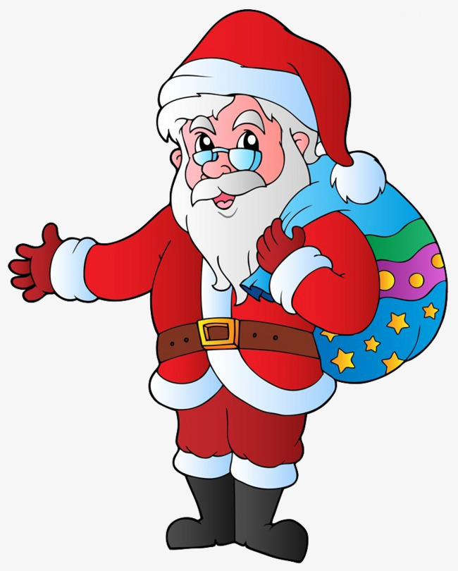 650x810 Santa Claus Brought With Presents, Cartoon Hand Drawing, Lift