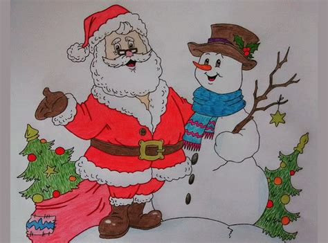 474x351 Christmas Drawings With Colour