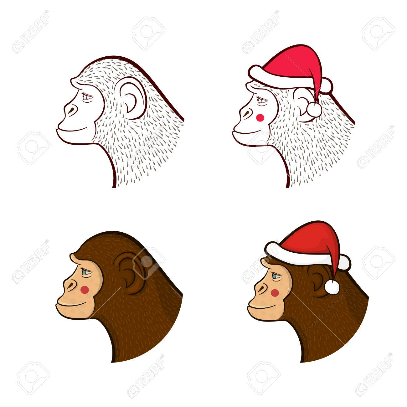 1300x1300 Holiday Set Far New Year, Four Different Monkeys In Cap Of Santa