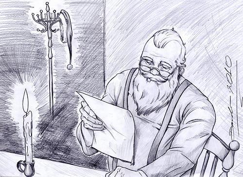 500x364 Santa Claus Drawing By Danilo Aroeira