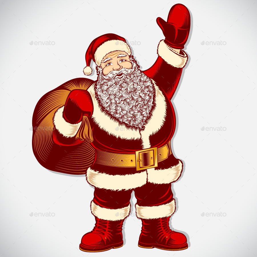 900x900 Santa Claus Cartoon Character Vintage Ink Drawing Pop Art Color By