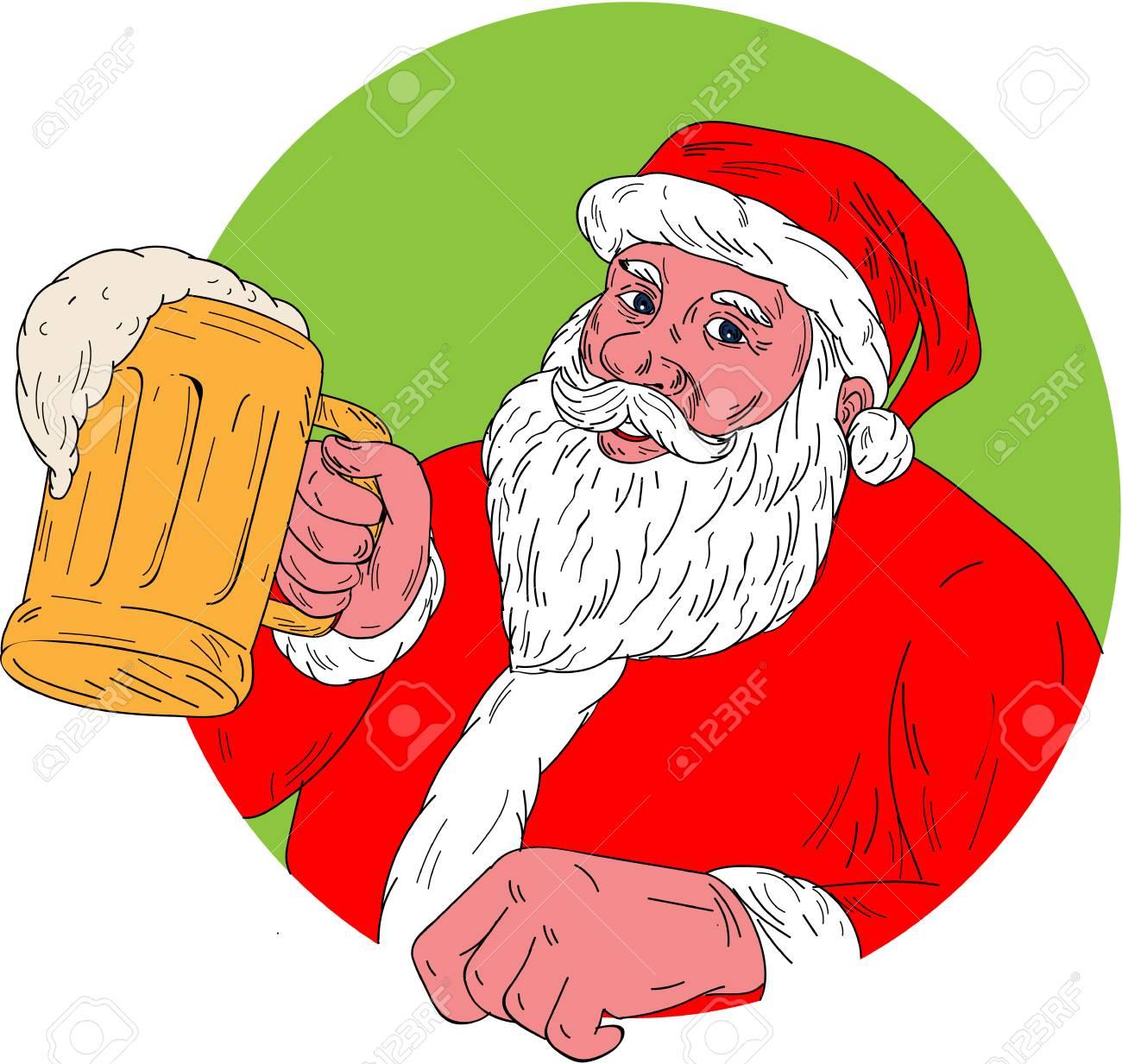 1300x1233 Drawing Sketch Style Illustration Of Santa Claus Smiling Facing