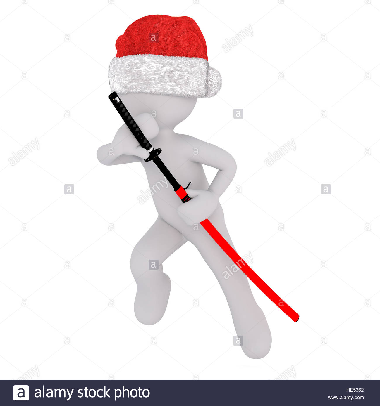 1299x1390 3d Toon In Santa Hat Drawing Japanese Samurai Sword From Scabbard