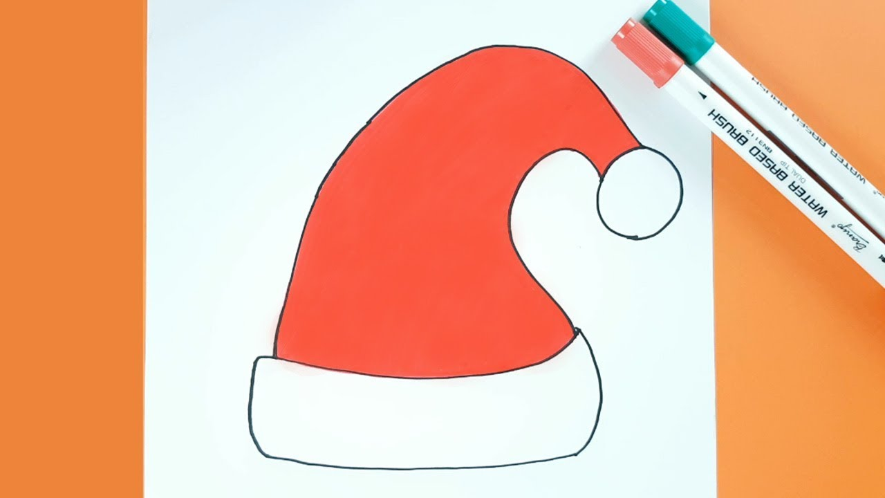 1280x720 Christmas Drawing How To Draw Santa Hat Easy Step By Step