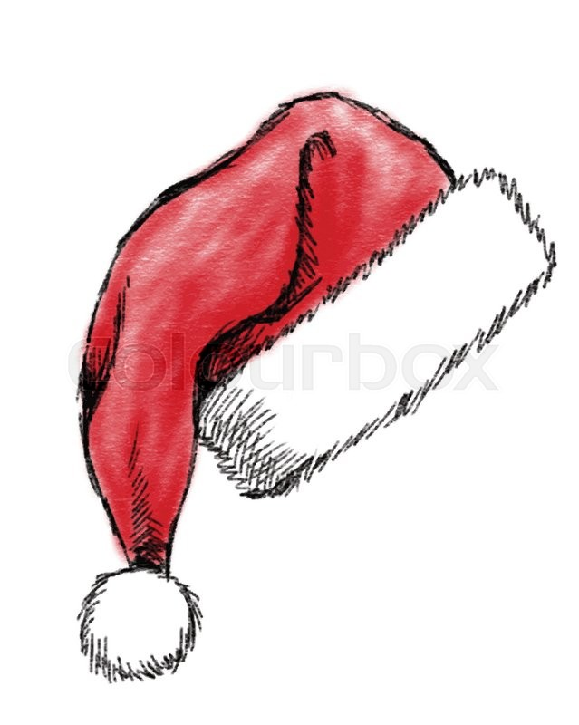 639x800 Hand Drawn Christmas Hat On White Background Stock Vector