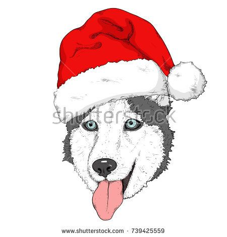 450x470 Sketch Of Husky Dog In Red Santa's Hat. Hand Drawing Muzzle