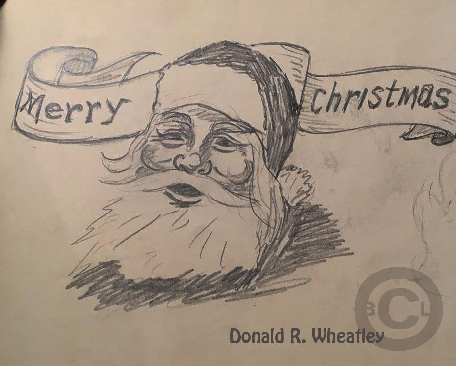926x744 1930s Student Pencil Sketch Of Santa. Drawing By Donald R