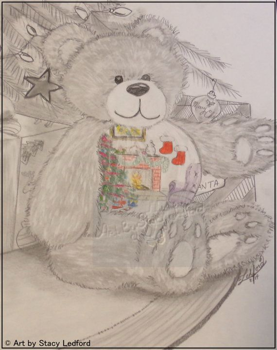 570x720 Christmas Morning, Original Art Piece, Christmas Tree, Teddy Bear