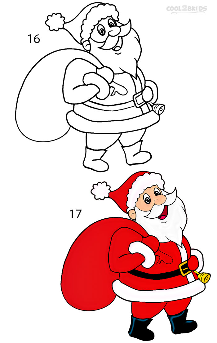 700x1106 How To Draw Santa Clause (Step By Step Pictures) Cool2bkids