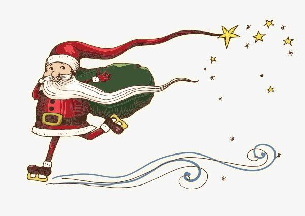 600x425 Pencil Drawing Of Santa Claus, Hand Painted Cartoon, Ski Png Image