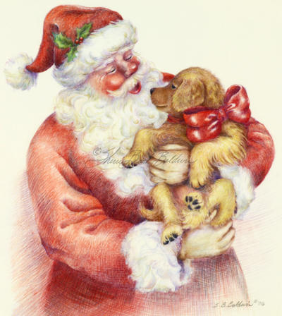 400x448 Santa's Puppy Is A Colored Pencil Drawing Art