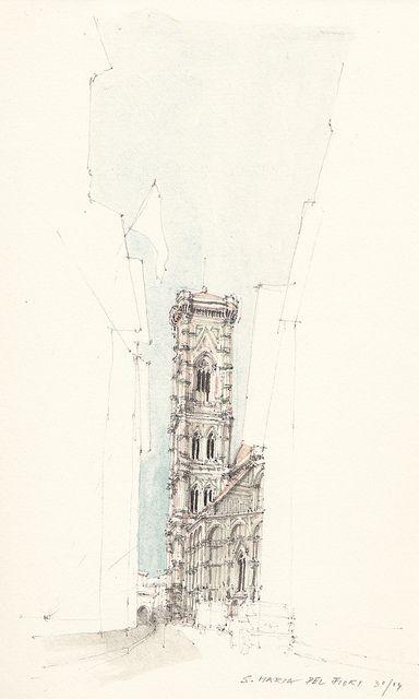 384x640 Santa Maria Del Fiori, Pencil Drawing With Water Colour