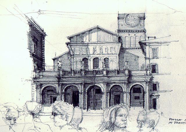 640x455 Santa Maria In Trastevere, Pencil Drawing Sketches