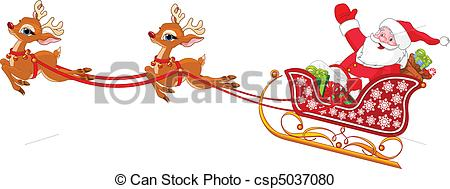 450x189 sleigh santa claus clipart and stock illustrations 114 new images - Santa Claus And Reindeers