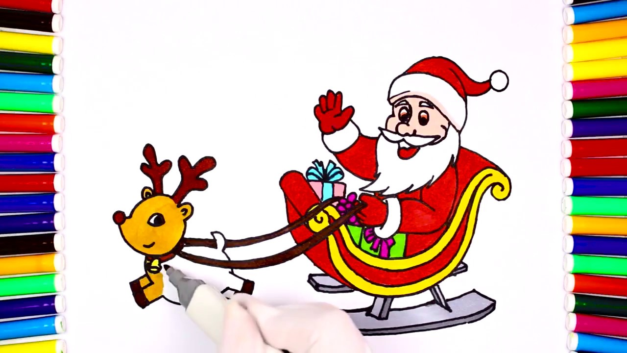 1280x720 How To Draw Santa Sleigh For Kid, Coloring Page For Kids