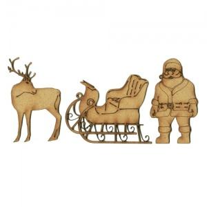 300x300 Santa, Sleigh Amp Reindeer Mdf Wood Set Of 3 For Christmas Crafts