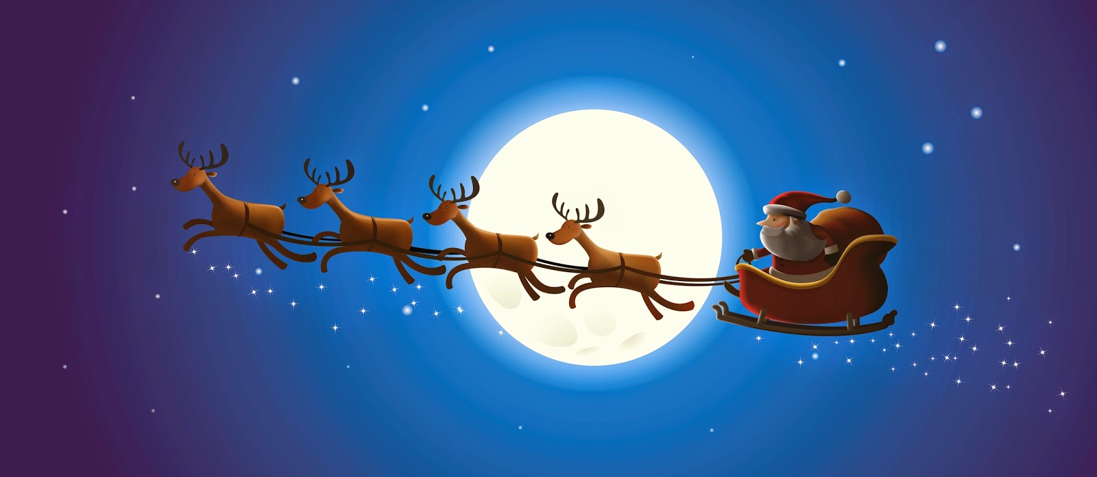 1600x696 Santa Claus Coming To Town Riding His Reindeer Sleigh Flying