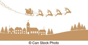 300x156 Santa Sleigh Reindeer Red Silhouette Vector Clipart