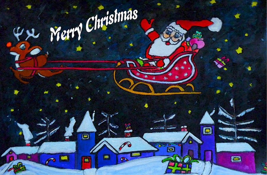 900x591 Santas Sleigh Ride Drawing By Monica Engeler