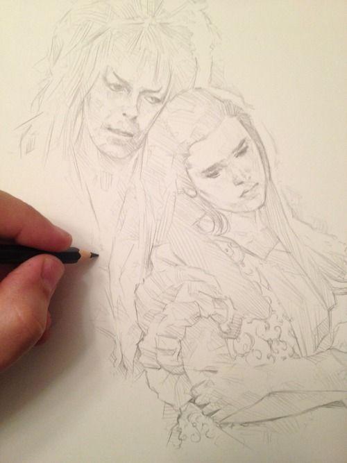 500x667 Jareth And Sarah Drawing Labyrinth Bowie, David