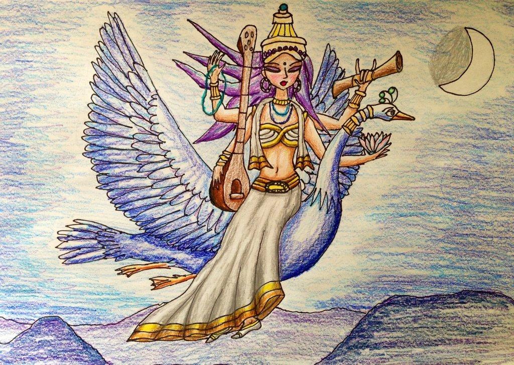 1024x728 Goddess Saraswati Drawing