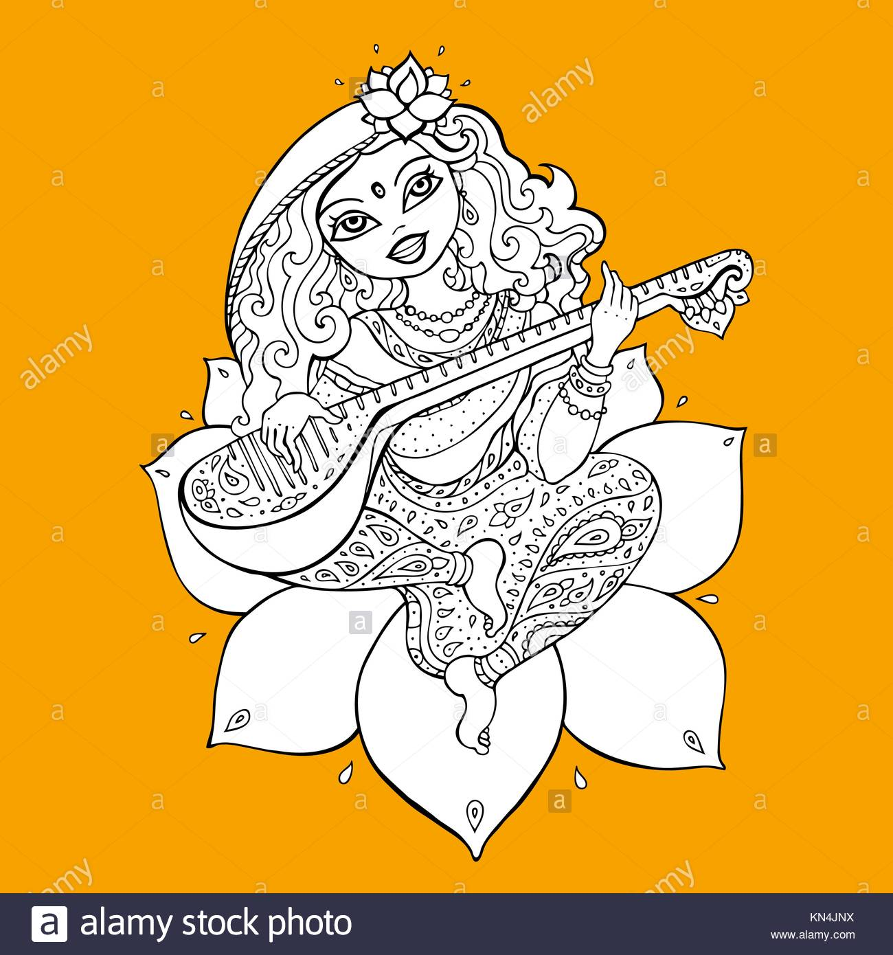 1300x1390 Hindu Goddess Saraswati. Vector Hand Drawn Illustration Stock