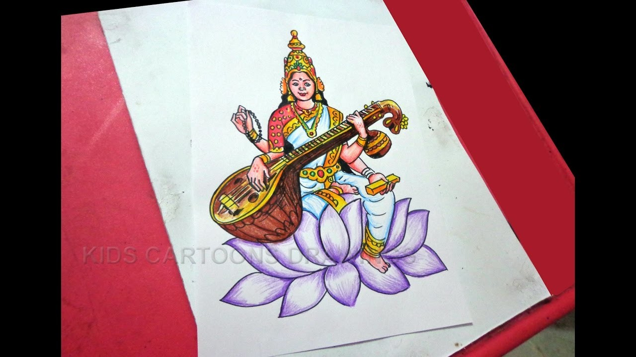 1280x720 How To Draw Dussehra Navratri Goddess Saraswati Drawing Step By