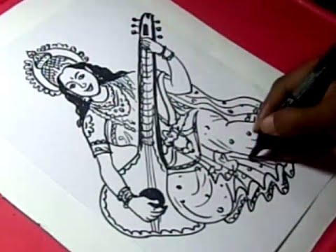 480x360 How To Draw Lord Saraswati Drawing Step By Step For Kids