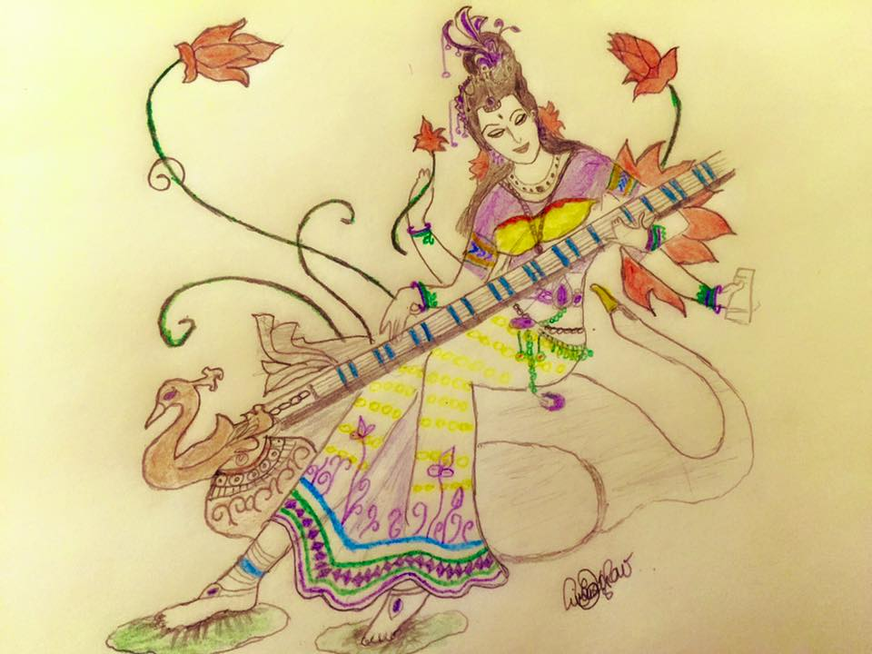 960x720 Saraswati Mata Drawings Amp Paintings Drawings