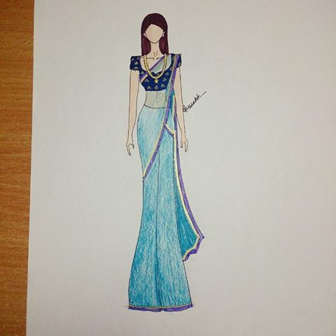 Saree Drawing at GetDrawings.com | Free for personal use Saree ...