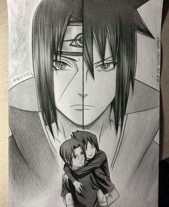 580x711 Itachi And Sasuke Hand Drawing By Arteyata
